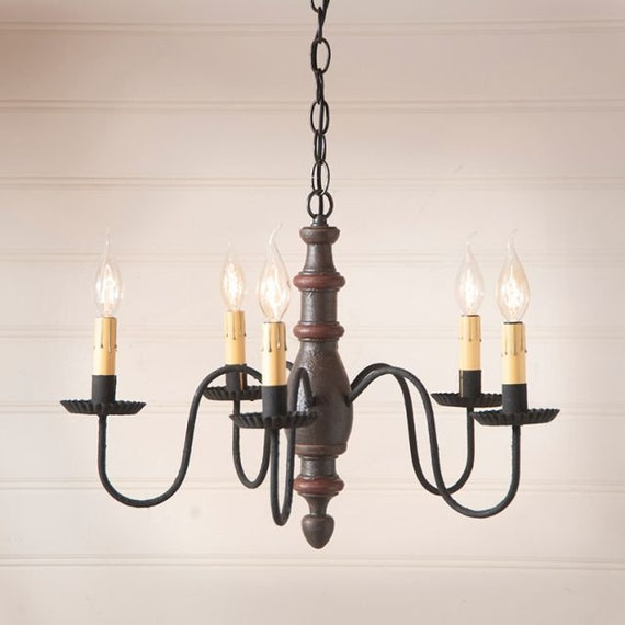 Country Inn Wood Chandelier , 5 Light in choice of finish, Farmhouse Lighting