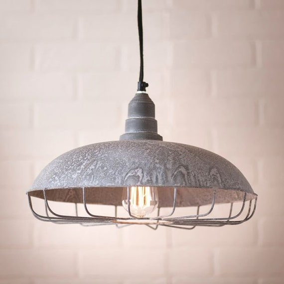Supply Store Pendant Light , Weathered Zinc Finish, Retro Lighting,Farmhouse Lighting.