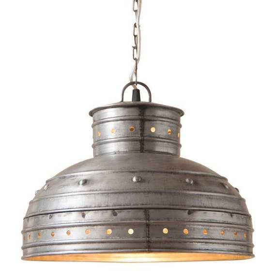 Breakfast Table Pendant Light in Brushed Tin