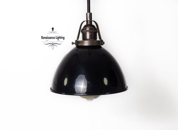 RAL Industrial Pendant Light with 7 '' Porcelain shade , Antique brass finish, Retro Lighting,Industrial Lighting.