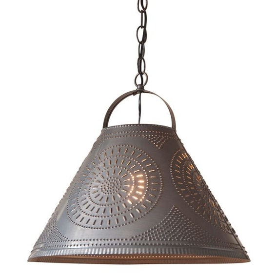Homestead Large  Shade Light Pendant with Chisel in Blackened Punched Tin