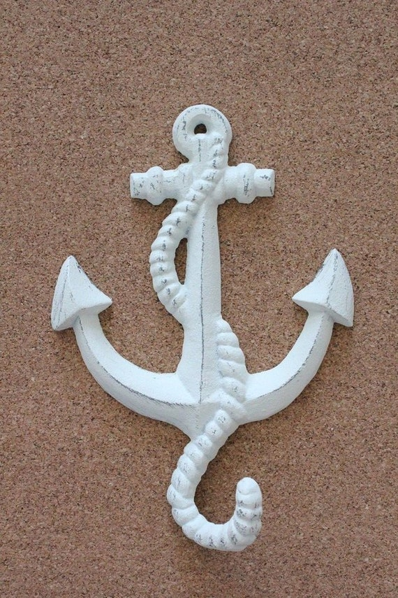 White Shabby Chic Anchor wall Hook