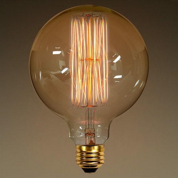 40 Watt - G40 Globe - 5 in. Diameter Vintage Light Bulb - Amber Tinted - G40