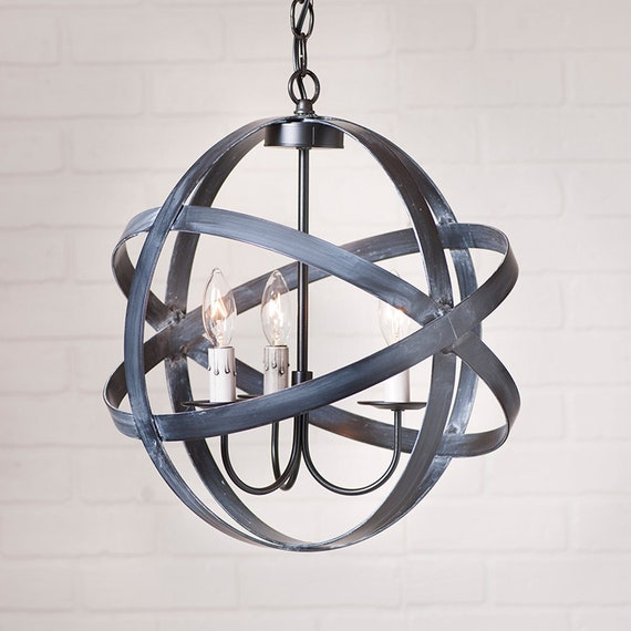 15-Inch Strap Sphere Chandelier in Black - 3 Light