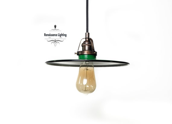 Retro Lighting , Farmhouse Lighting ,Vintage Pendant with flat porcelain shade , choice of color