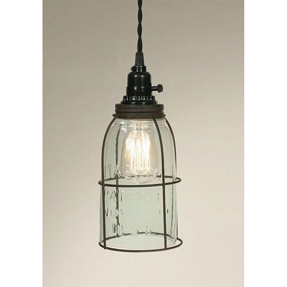 Half Gallon Caged Mason Jar Pendant Lamp, plug in Pendant, Farmhouse Lighting, Retro Lighting