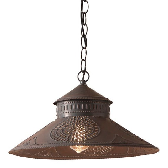 Stockbridge Shade Light Pendant in Kettle Black Punched Tin ,Hand Made ,Farmhouse Lighting