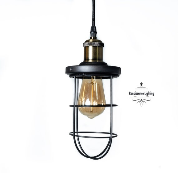 Steam punk  Industrial Cage pendant, Oil rubbed Bronze and antique brass