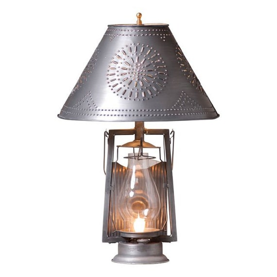 Farmer's Table Lamp with  Punched  Tin Shade in Antique Tin