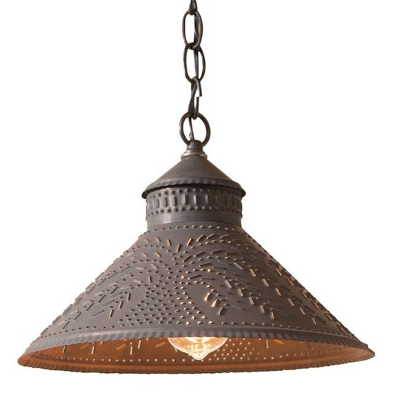 Stockbridge Shade Light Pendant with Willow in Blackened Punched Tin