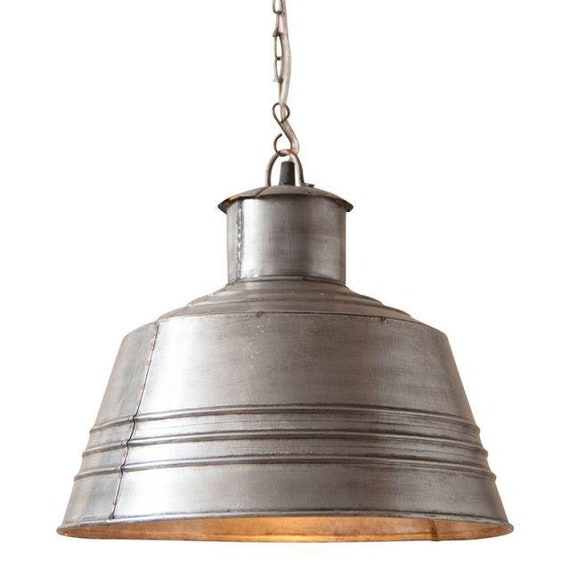 Canning Table Pendant Light in Brushed Tin