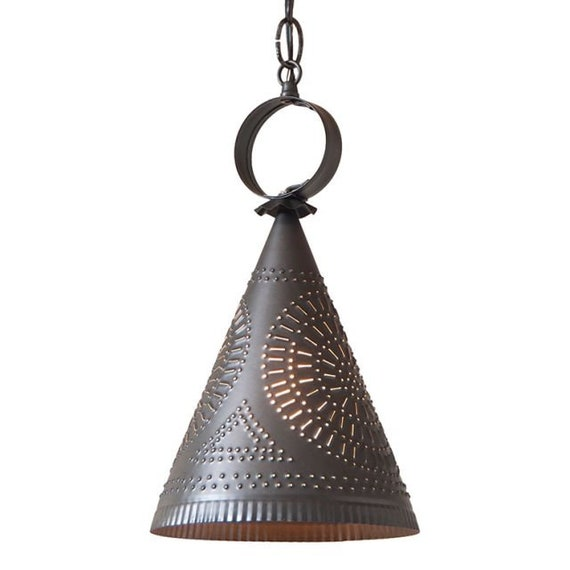 Madison Witch's Hat in Kettle Black Pendant Light in Punched Tin