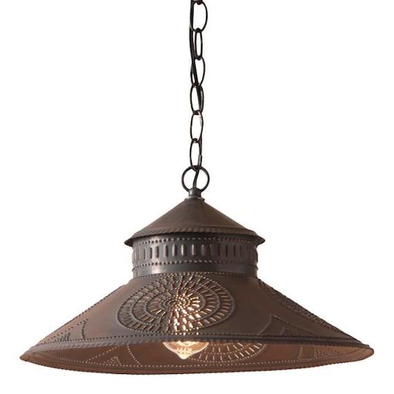 Shopkeeper Shade Light Pendant with Chisel in Kettle Black, Retro Lighting, Farmhouse lighting