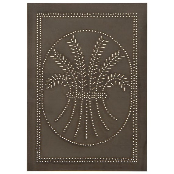 Vertical Wheat Cabinet Panel Insert in Blackened Tin, Farmhouse style, Country Style
