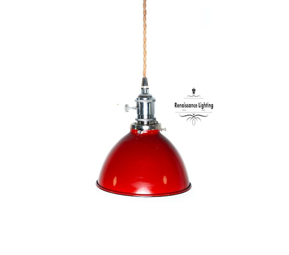 Industrial  Nickle Pendant with choice of shade, Retro style Industrial style