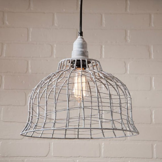 Farmhouse Cage Pendant in Weathered Zinc Finish