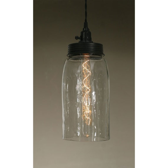 Big Mason Jar Pendant Lamp - Clear Glass , plug in Pendant Lamp