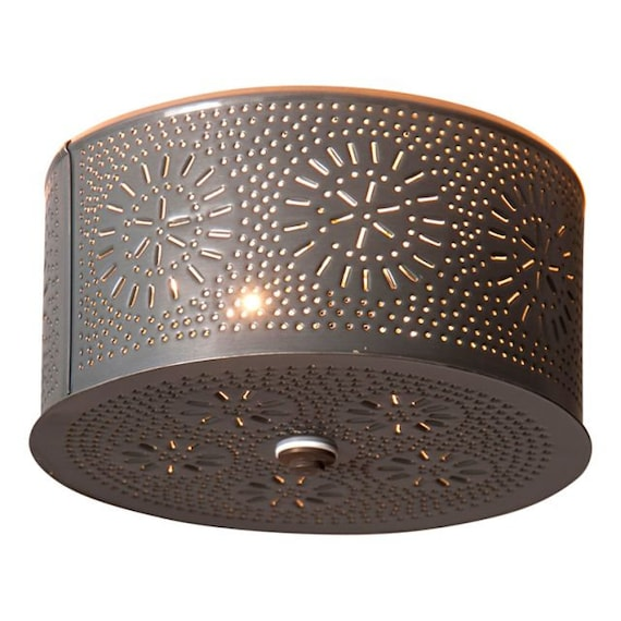 Round Flush Mount Ceiling Light in Country Punched Tin