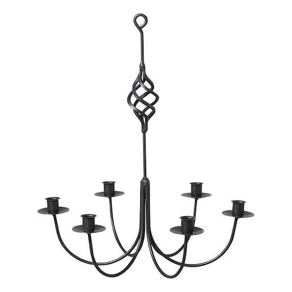 Wrought Iron 6-arm Candle Chandelier, Hand made