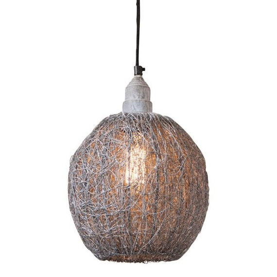Nesting Wire Hanging Light in Weathered Zinc , Farmhouse Lighting,Country Lighting
