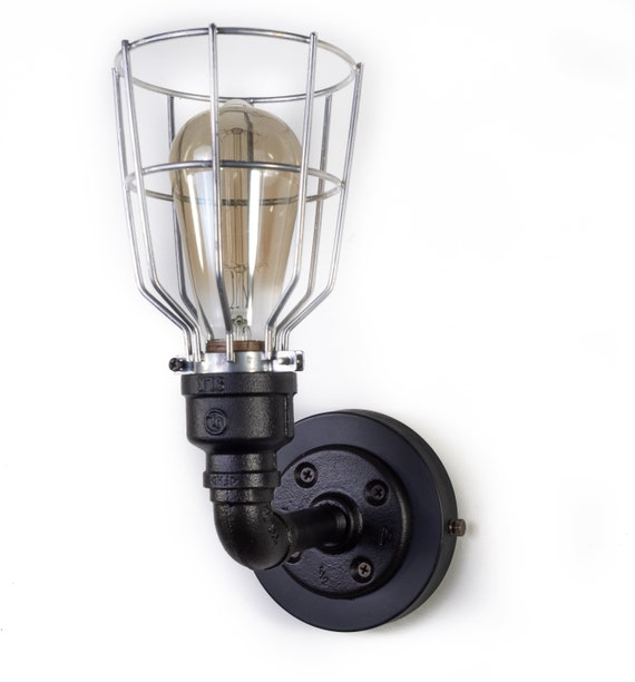 Black iron Vintage Style  Industrial Sconce with bulb cage, Steampunk Lighting ,Industrial Lighting,