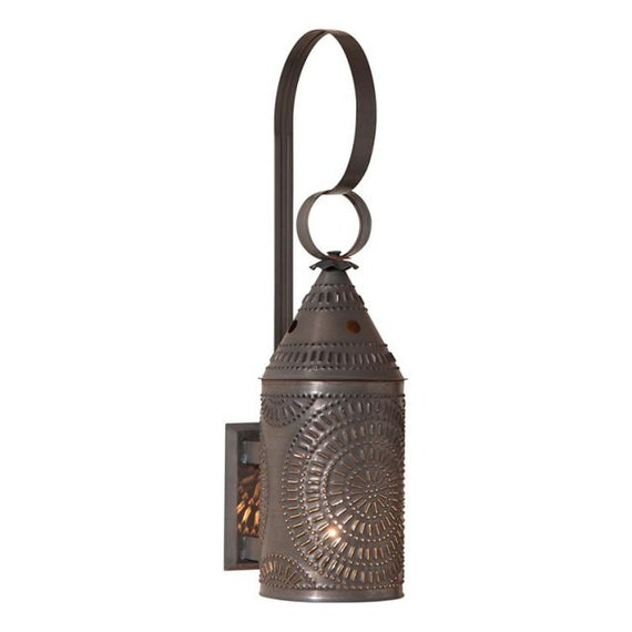 15-Inch Electrified Wall Lantern in Kettle Black, Punched Tin