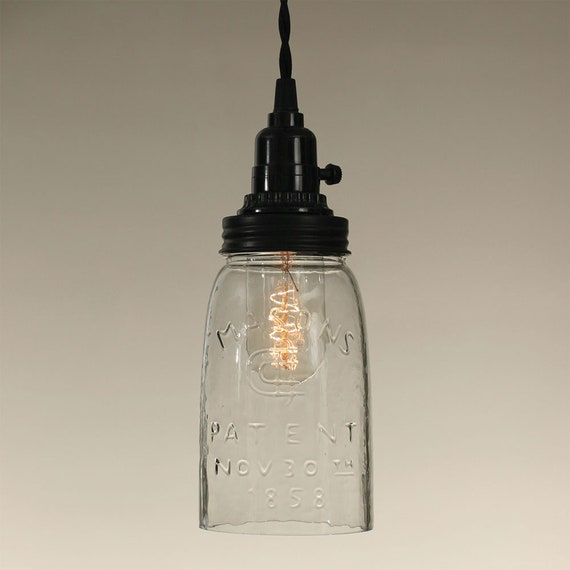 Quart Open Bottom Mason Jar Pendant Lamp, Plug in Pendant