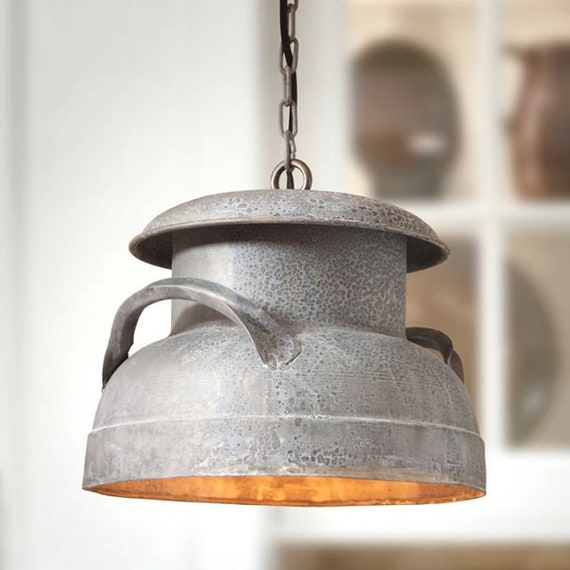 Milk Can Pendant Light in Weathered Zinc, Farmhouse Lighting,Country Lighting