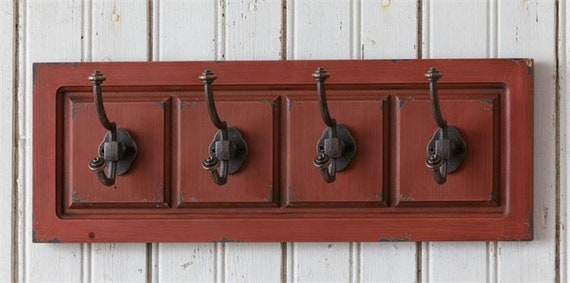 Distressed 4 hook red wall hanger
