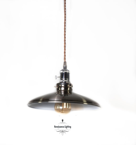 Retro Nickel Kitchen pendant with 10 '' shade, Reto lighting,Farmhouse Lighting