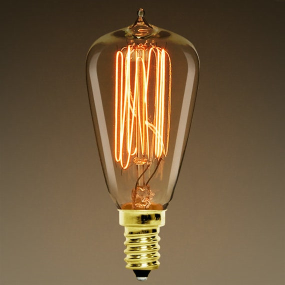 ST38 Edison Style - Candelabra Base 25 Watt - Vintage Antique Light Bulb - 3.5 in. Length - Multiple Supports - Amber Tinted