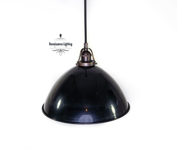RAL Industrial Pendant with 12 '' Porcelain shade , Antique brass finish, Steampunk Lighting,Retro Lighting. Choice of Finish