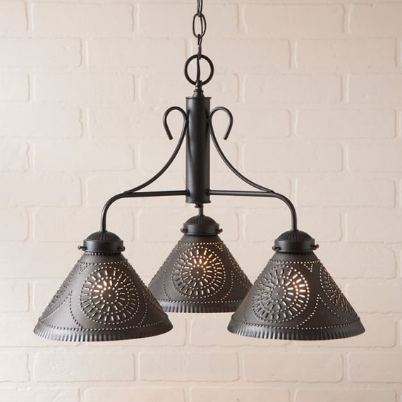 Barrington Chandelier in Black , Punched tin , kitchen /dining room Lighting