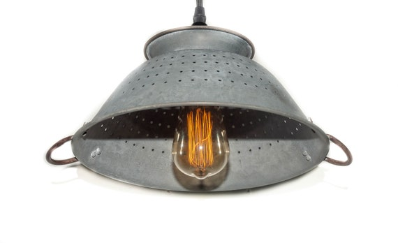 Farmhouse Colander Pendant Plug in ,choice of finish, Plug in pendant, Weathered Zinc or Kettle black