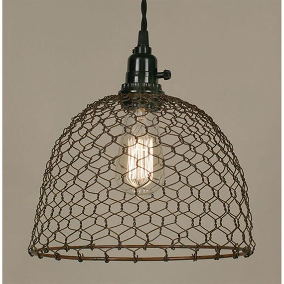 Chicken Wire Dome Pendant Light, Plug in pendant, Farmhouse Lighting