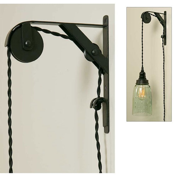 Double Pulley  Bracket , Satin Black, Pendant lights