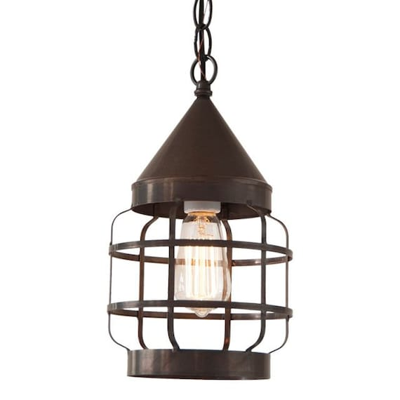 Round Hanging Strap Light in Kettle Black ,Pendant light , Farmhouse Lighting