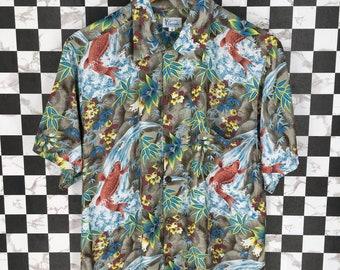 75ac09a92 Vintage 80s HAWAIIAN Sun Surf Toyo Rayon Shirt Goldfish Asian Pattern Japan  Sukajan Style Beach Wear Aloha Hawaii Surf Buttondown Size M