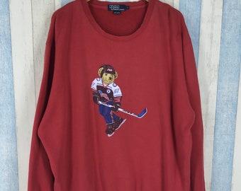 c129723df POLO RALPH LAUREN Sweatshirt Large Vintage Ralph Lauren Polo Bear Ice Hockey  Pullover Sportswear Crewneck Polo Red Jumper Sweater Size L