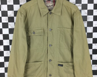 04a3e220e6b84 WOOLRICH Workers Jeans Jacket Medium Mens Vintage Jeans 90 s Workwear Style  Four Pocket Jacket Beige Labour Jeans Jacket Button Size M