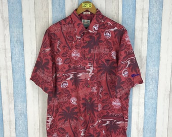 26a3c76b4 HAWAIIAN Shirt Mens Large 80's Reyn Spooner Pro Bowl Nfl America Football  Rugby Cotton Aloha Hawaii Shirt Size L Raiders 49ers