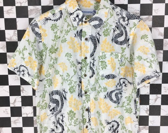 c98582517 T&C SURF Designs Hawaiian Shirt Small Vintage 90's Abstract Dragon Tiger  Japan Pattern Sukajan Japanese Tattoo Hawaii Button Up Size S