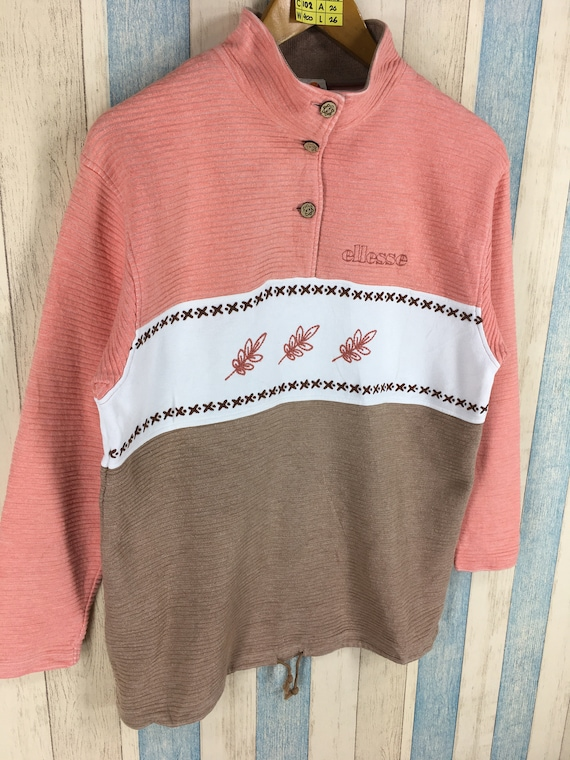 ELLESSE Perugia Sweater Pullover Streetwear Medium Women Vintage 90s Ellesse Italia Sports Half Button Ellesse Jumper Size M