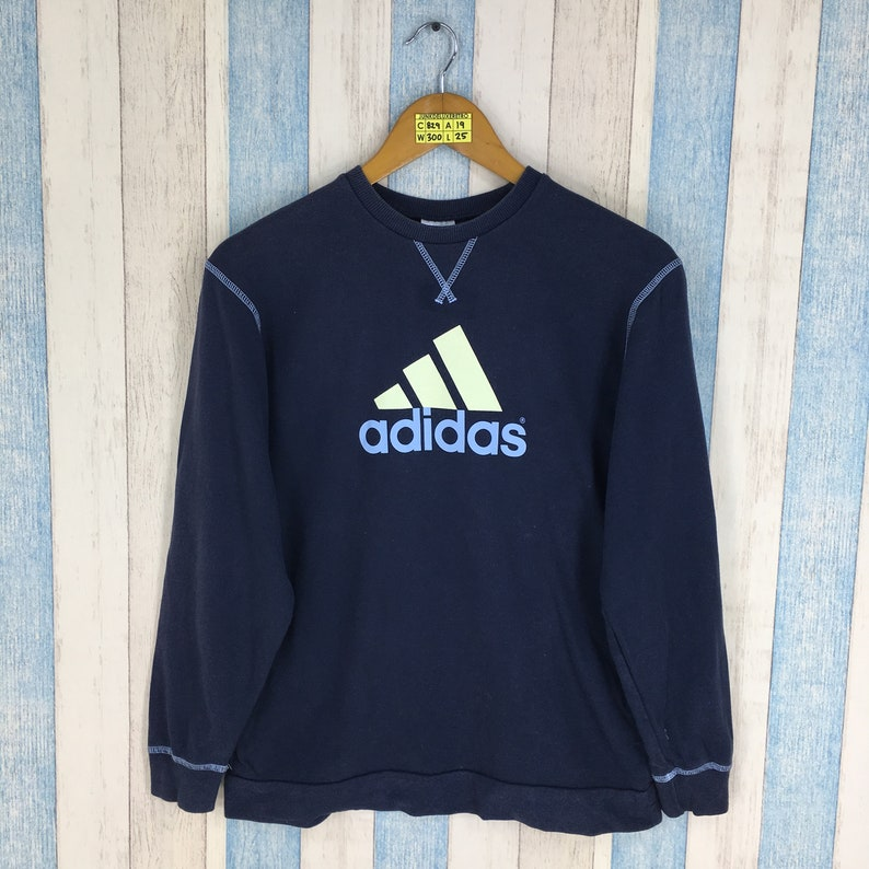 ADIDAS EQUIPMENT Sweater Medium Blue Ladies Vintage 90's Adidas Three Stripes Big Logo Pullover Sportswear Ladies Jumper Sweatshirt Size M
