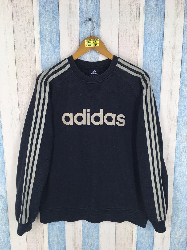 09d3a26e88e8f ADIDAS EQUIPMENT Sweater Large Ladies Black Vintage 90's Adidas Three  Stripes Sportswear Adidas Pullover Jumper Size L