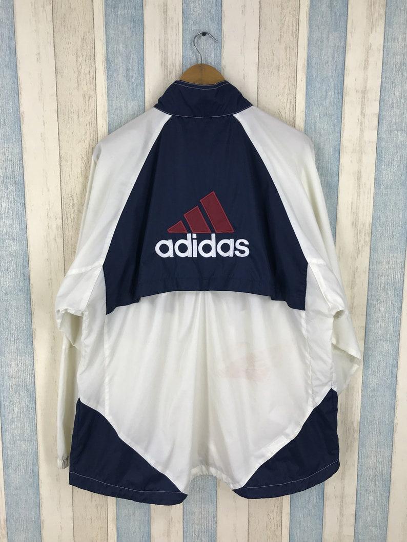 ADIDAS Windbreaker Jacke mittlere Vintage 90er weißblau Adidas drei Active Sportswear Ausrüstung Parka Jacke Größe M Streifen