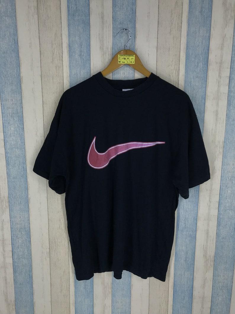 60d9cfde7 NIKE AIR T Shirt Unisex Large Black Swoosh Big Logo Vintage | Etsy