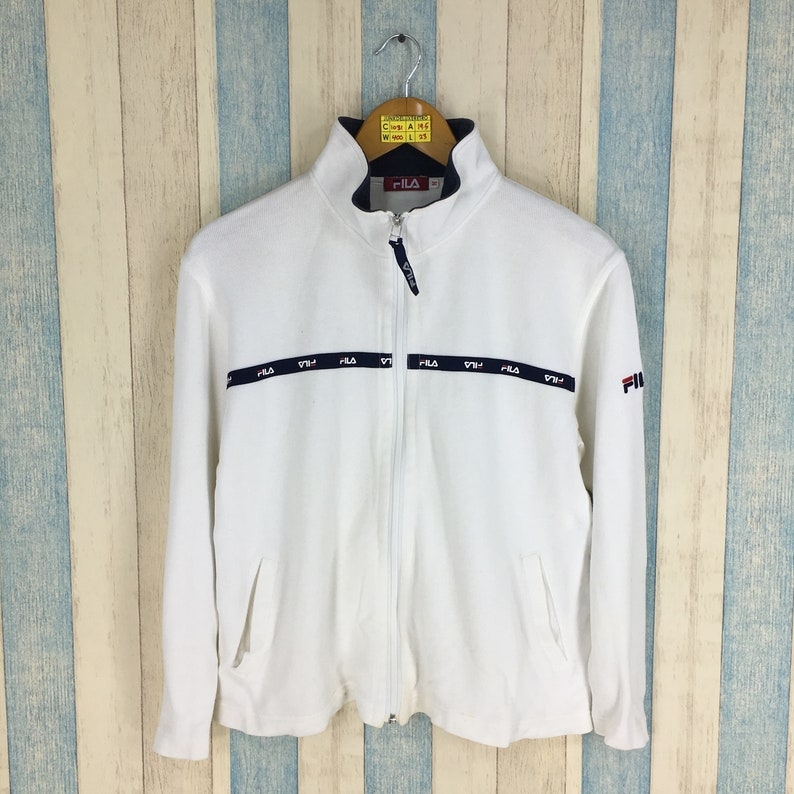 b7ae23789142 Vintage FILA Jacket Sweater Medium Women White 90 s Fila
