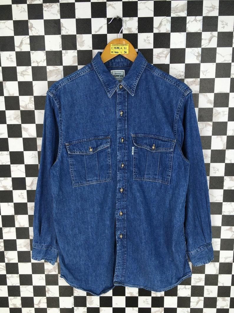 EDWIN Denim Shirt Small Vintage 90/'s Edwin Jeans Grunge Western Shirt Buttondown Edwin Jeans Denim Blue Shirt Size S