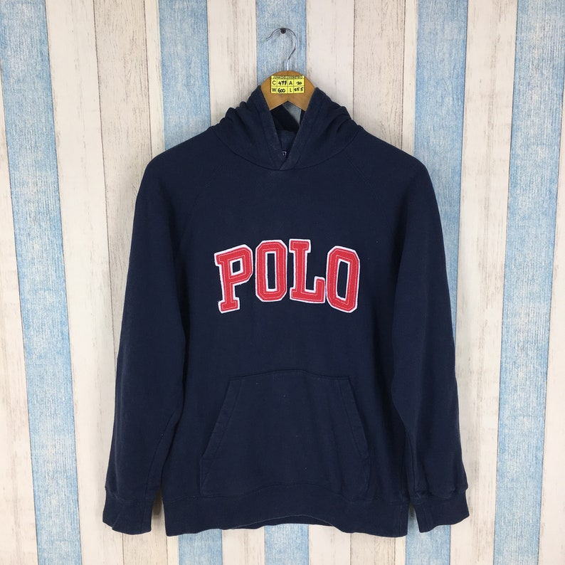 275d83636635 Vintage 90 s POLO RALPH LAUREN Blue Sweater Hoodie Medium